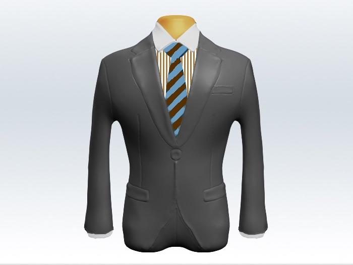 ライトグレースーツと茶水色ストライプネクタイとロンドンストライプワイシャツ