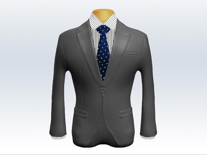 ライトグレースーツとネイビードット柄ネクタイとペンシルストライプワイシャツ