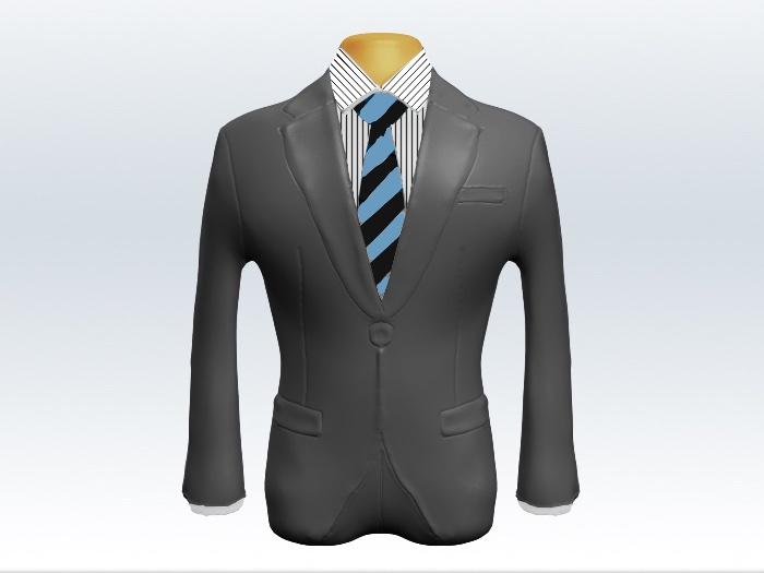 ライトグレースーツと水色黒ストライプネクタイとペンシルストライプワイシャツ