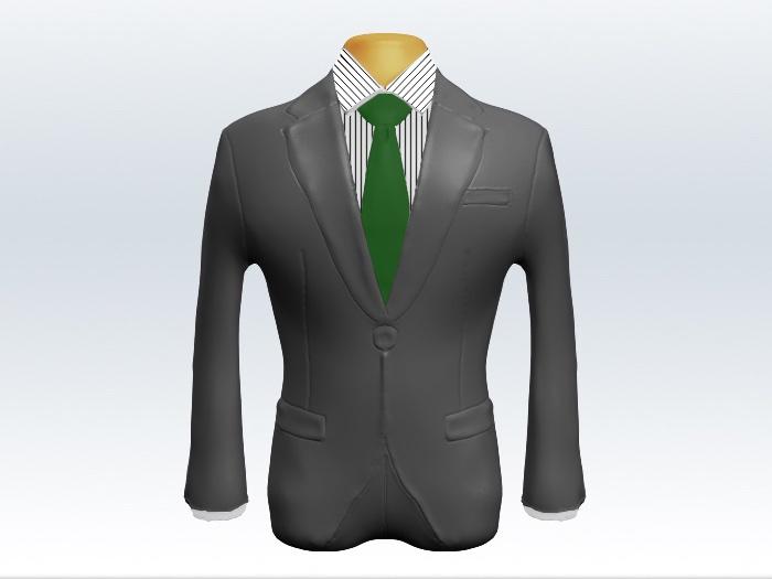 ライトグレースーツと緑無地ネクタイとペンシルストライプワイシャツ