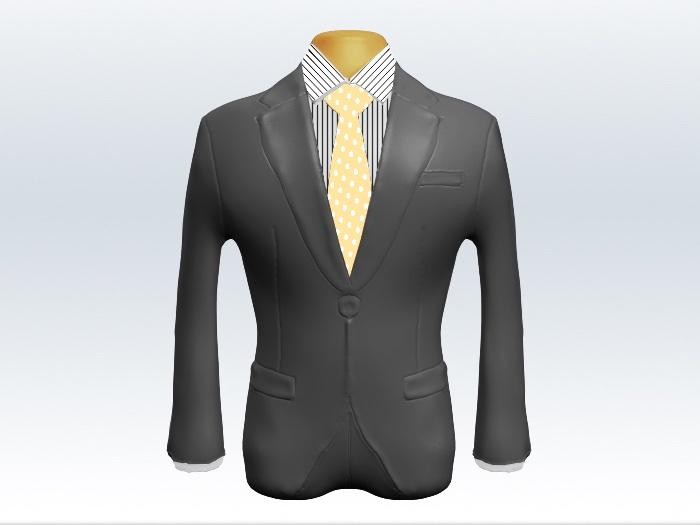 ライトグレースーツとイエロードット柄ネクタイとペンシルストライプワイシャツ