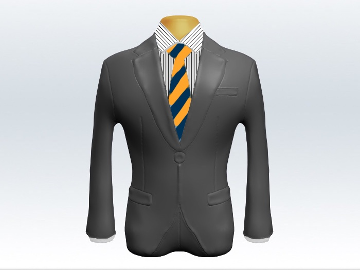 ライトグレースーツと黄紺ストライプネクタイとペンシルストライプワイシャツ