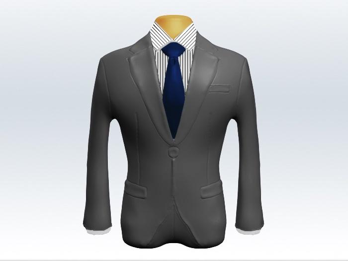 ライトグレースーツと紺無地ネクタイとペンシルストライプワイシャツ