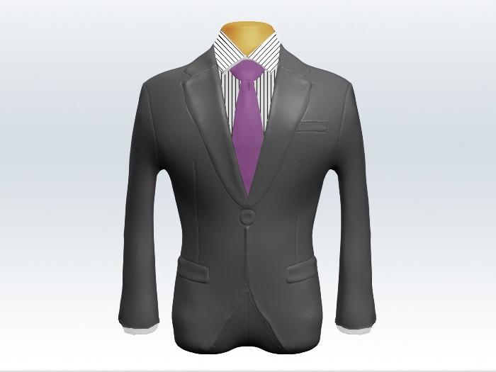 ライトグレースーツと紫無地ネクタイとペンシルストライプワイシャツ