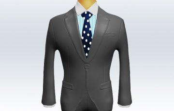 ライトグレースーツとネイビードット柄ネクタイとロンドンストライプワイシャツ