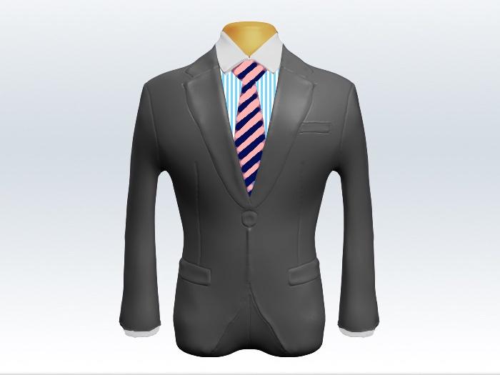 ライトグレースーツと桃紺ストライプネクタイとロンドンストライプワイシャツ