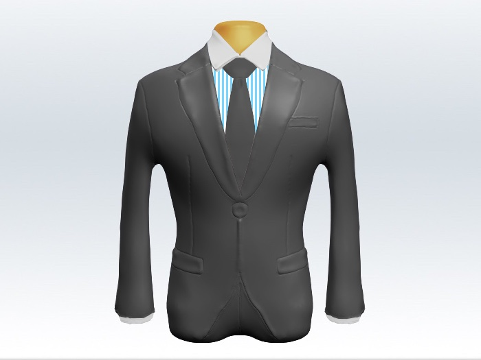 ライトグレースーツと灰色無地ネクタイとロンドンストライプワイシャツ