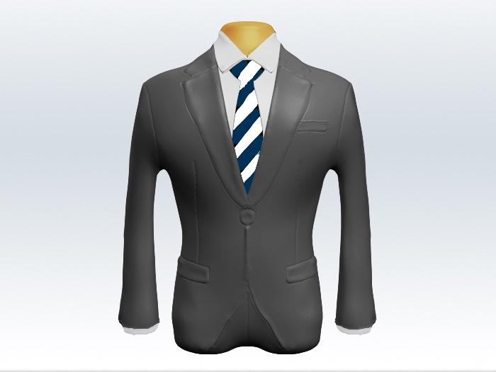 ライトグレースーツと紺白ストライプネクタイと白ワイシャツ