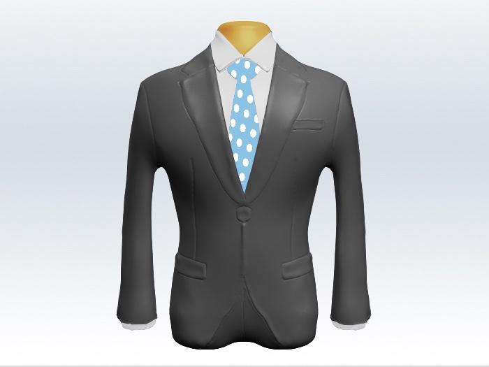 ライトグレースーツと水色ドット柄ネクタイと白ワイシャツ