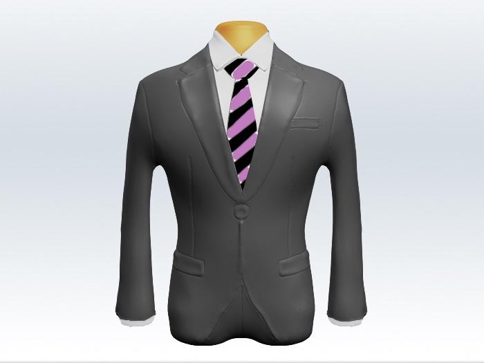 ライトグレースーツと紫黒ストライプネクタイと白ワイシャツ