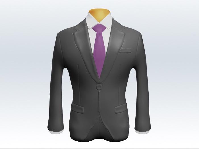 ライトグレースーツと紫無地ネクタイと白ワイシャツ