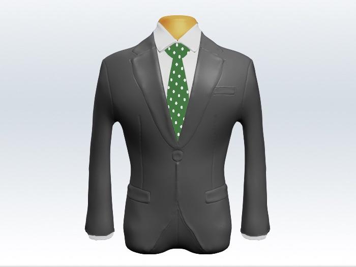 ライトグレースーツと緑色ドット柄ネクタイと白ワイシャツ