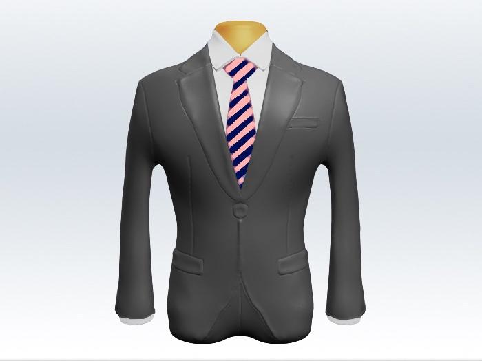 ライトグレースーツと紺桃ストライプネクタイと白ワイシャツ