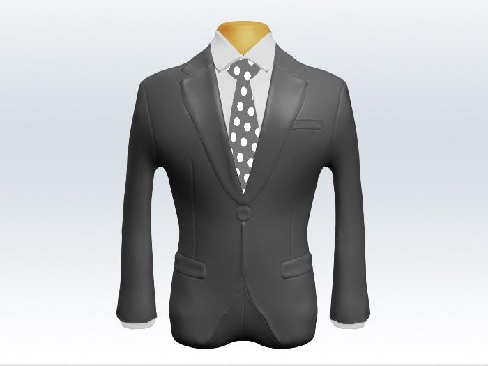 ライトグレースーツと灰色ドット柄ネクタイと白ワイシャツ