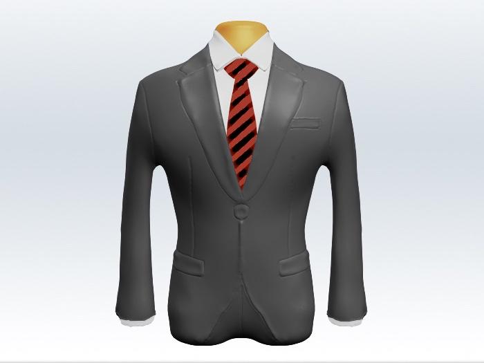 ライトグレースーツと赤黒ストライプネクタイと白ワイシャツ