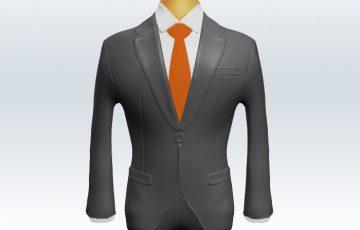 ライトグレースーツとオレンジ無地ネクタイと白ワイシャツ