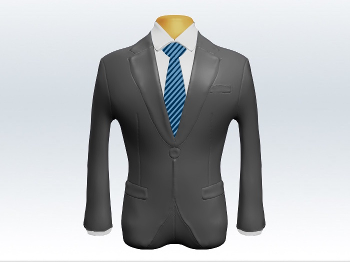 ライトグレースーツと細身ストライプネクタイと白ワイシャツ
