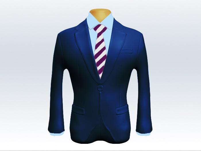 ライトネイビースーツと紫白ストライプネクタイと青ワイシャツ