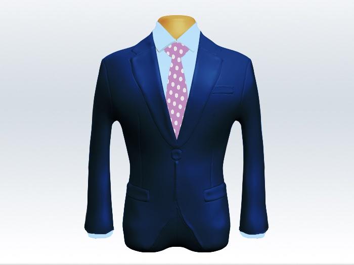 ライトネイビースーツと紫ドットネクタイと青ワイシャツ