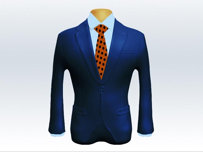 ライトネイビースーツとオレンジドットネクタイと青ワイシャツ