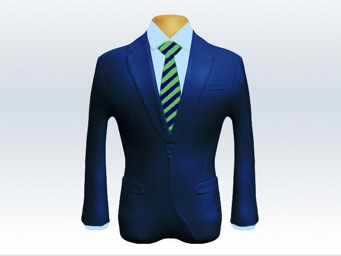 ライトネイビースーツと緑紺ストライプネクタイと青ワイシャツ