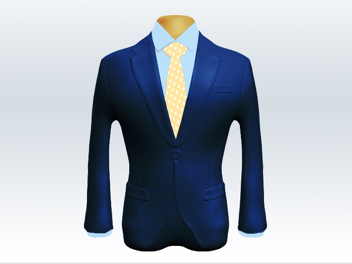ライトネイビースーツとイエロードットネクタイと青ワイシャツ