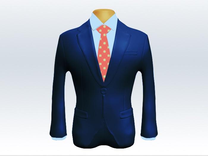 ライトネイビースーツとピンク小紋柄ネクタイと青ワイシャツ