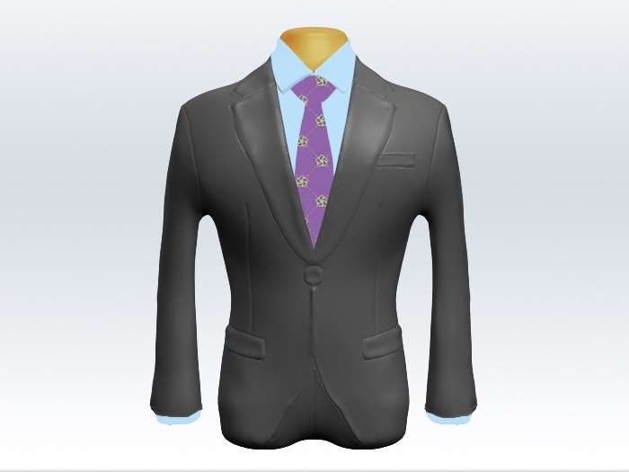 ライトグレースーツと紫色小紋柄ネクタイと青ワイシャツ