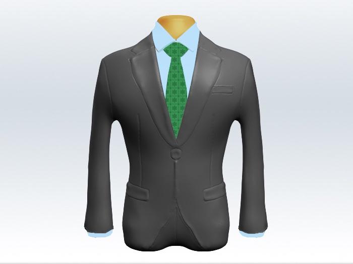 ライトグレースーツと緑色小紋柄ネクタイと青ワイシャツ
