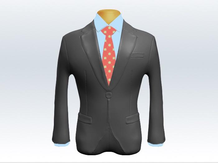 ライトグレースーツとサーモンピンク小紋柄ネクタイと青ワイシャツ