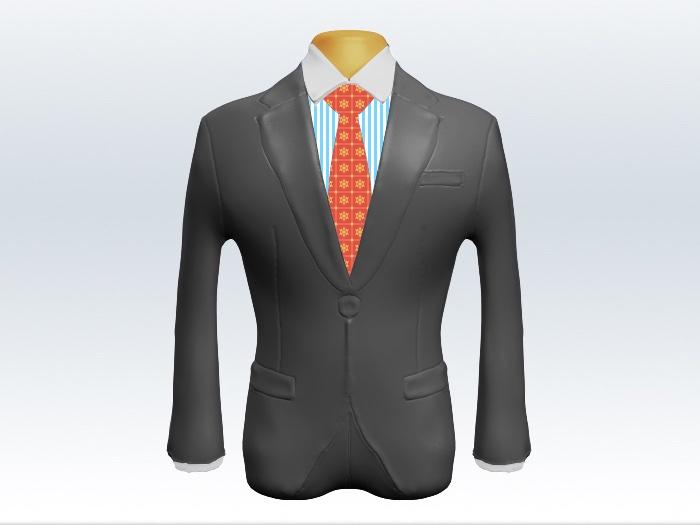ライトグレースーツとオレンジ小紋柄ネクタイとロンドンストライプワイシャツ
