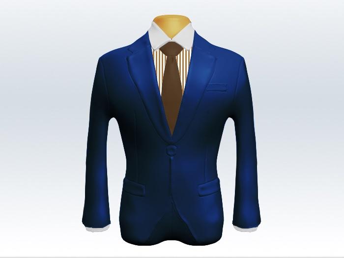 ライトネイビースーツと茶色無地ネクタイとロンドンストライプワイシャツ