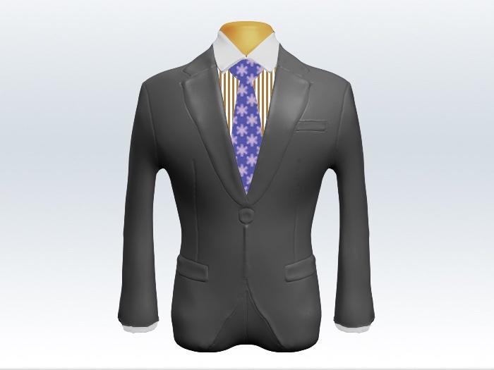 ライトグレースーツと紫色小紋柄ネクタイとロンドンストライプワイシャツ