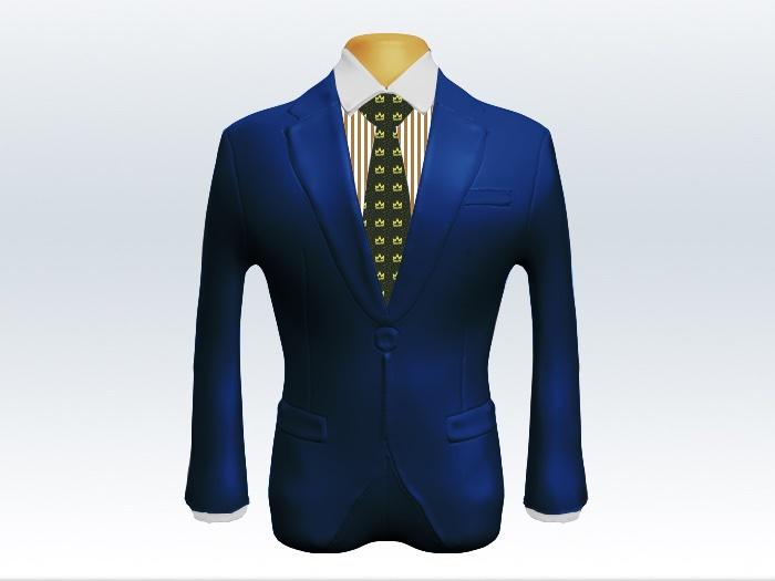 ライトネイビースーツとモスグリーン小紋柄ネクタイとブラウンロンドンストライプワイシャツ
