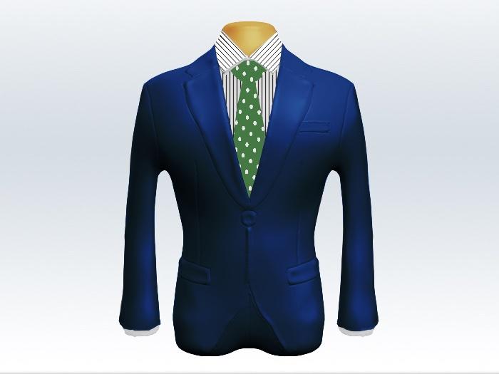 ライトネイビースーツと緑ドットネクタイとペンシルストライプワイシャツ