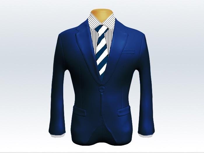 ライトネイビースーツと太い紺白ストライプネクタイとペンシルストライプワイシャツ