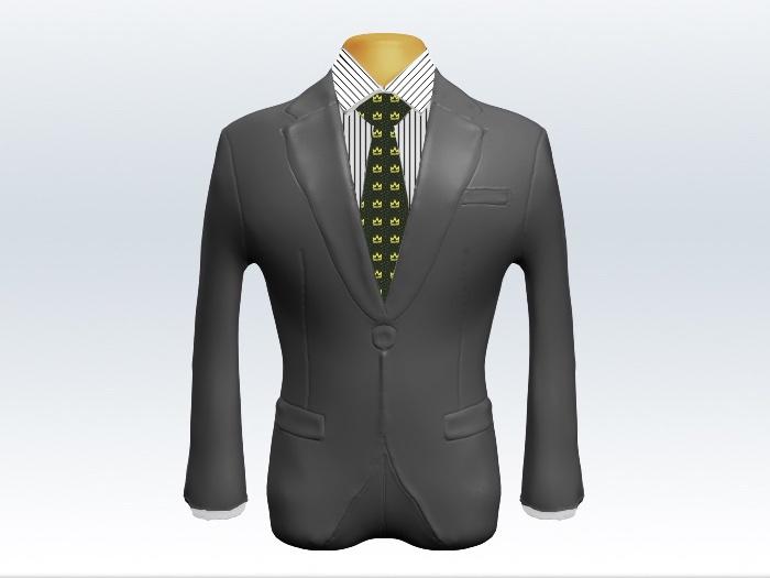 ライトグレースーツと緑色小紋柄ネクタイとペンシルストライプワイシャツ