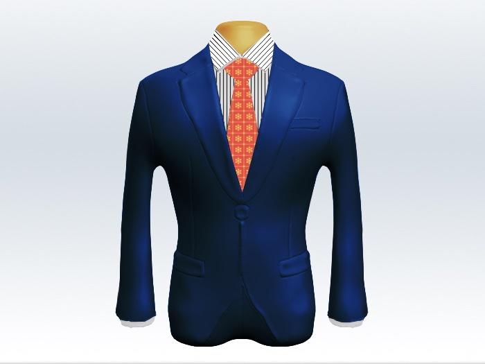 ライトネイビースーツとオレンジ小紋柄ネクタイとペンシルストライプワイシャツ