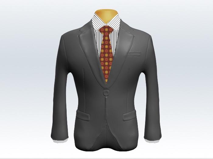 ライトグレースーツと赤小紋柄ネクタイとペンシルストライプワイシャツ