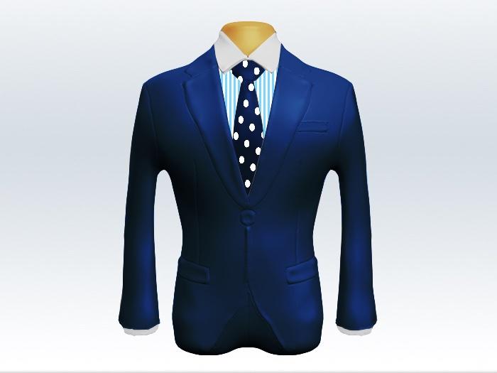 ライトネイビースーツと紺水玉ネクタイとロンドンストライプワイシャツ