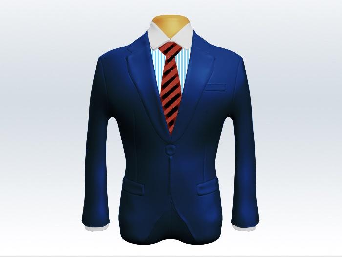 ライトネイビースーツと太い赤黒ストライプネクタイとロンドンストライプワイシャツ