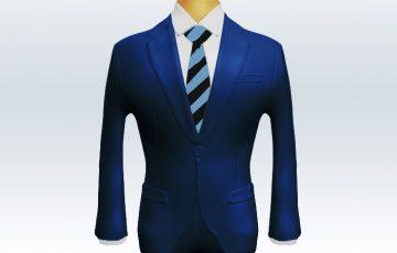 ライトネイビースーツと太い紺黒ストライプネクタイと白ワイシャツ