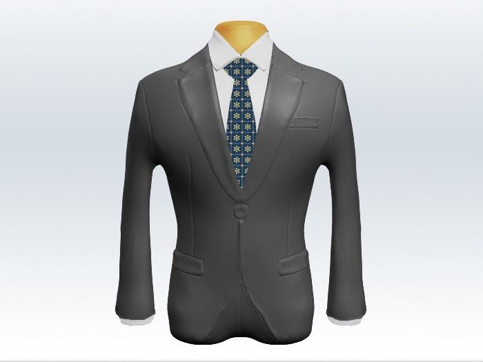 ライトグレースーツと青小紋柄ネクタイと白ワイシャツ