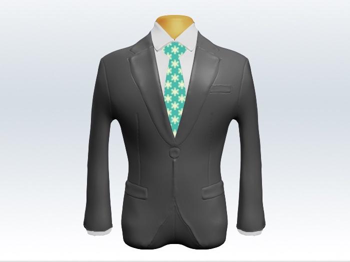 ライトグレースーツとエメラルドグリーン小紋柄ネクタイと白ワイシャツ
