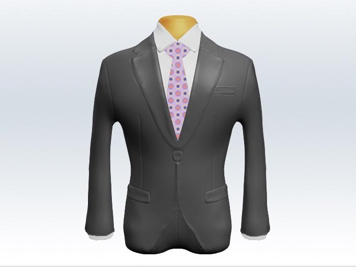 ライトグレースーツと紫小紋柄ネクタイと白ワイシャツ