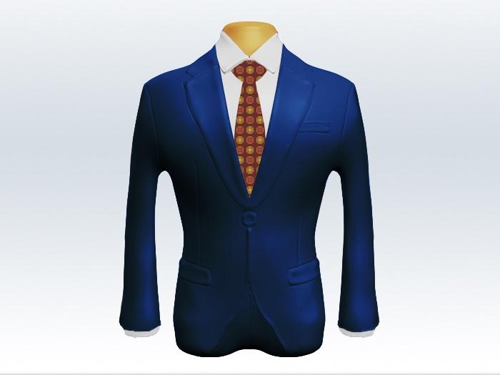 ライトネイビースーツとレッド小紋柄ネクタイと白ワイシャツ