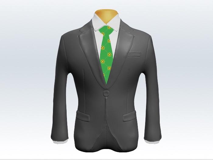 ライトグレースーツと緑色小紋柄ネクタイと白ワイシャツ
