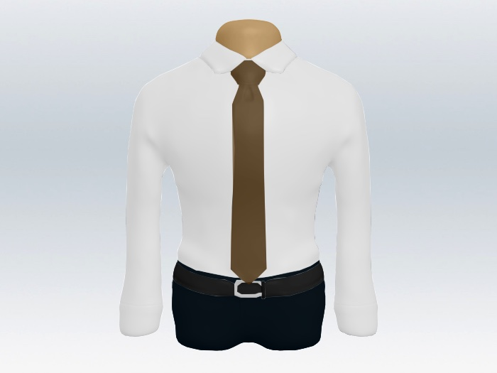 白ワイシャツと茶色無地ネクタイの着こなし