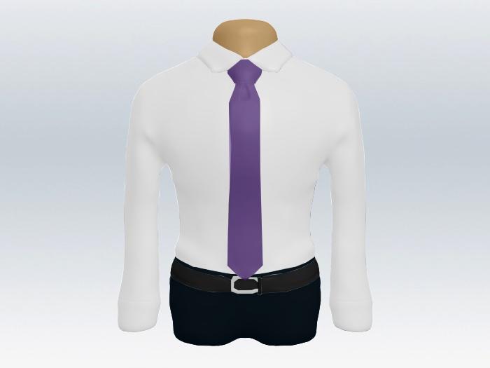 白ワイシャツと紫無地ネクタイの着こなし