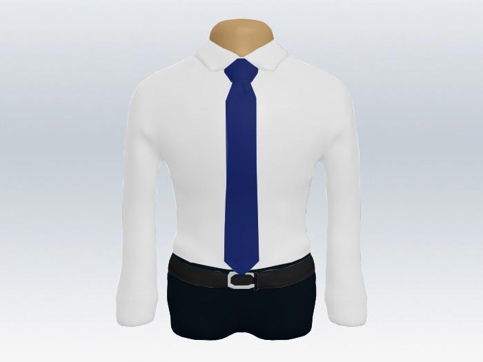 白ワイシャツとライトネイビー無地ネクタイの着こなし